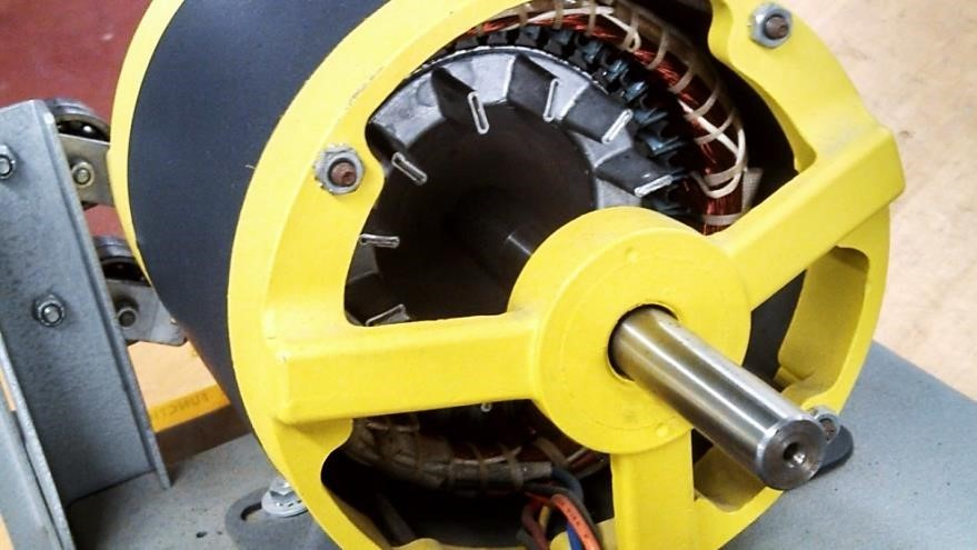 Figure 2. In a squirrel-cage rotor AC induction motor the rotor bars molded in a cast of aluminum have the appearance of a squirrel cage or the paddle wheel on a steam boat