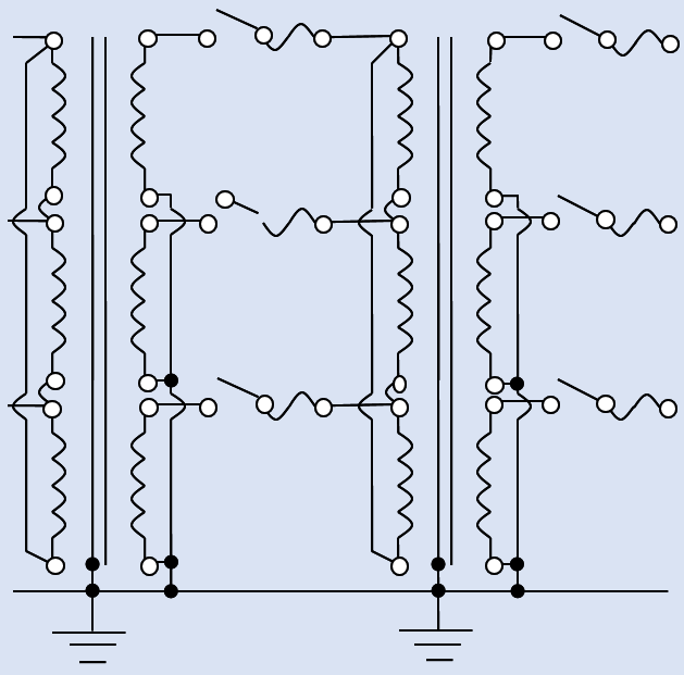 fig 1 The static ground wire in the 3-phase electrical utility power transmission-distribution grid