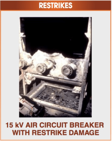 Circuit breakers can become permanently damaged by restrikes.