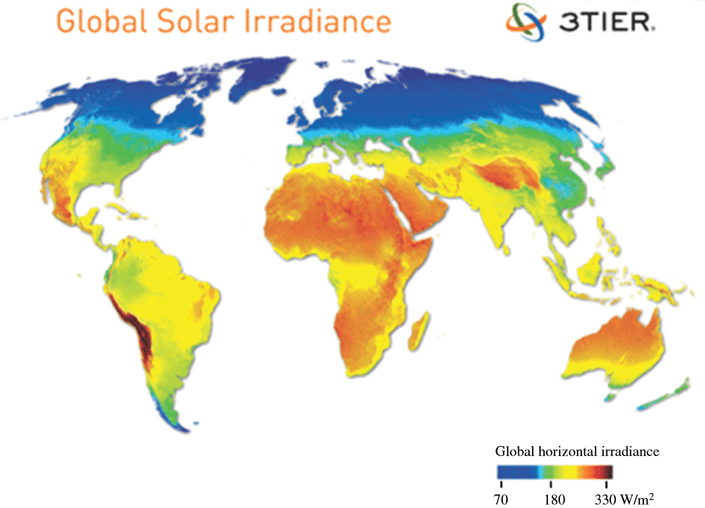 Average Annual Global Solar Irradiance