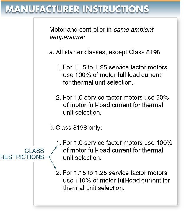 Manufacturer instructions on thermal overload relay