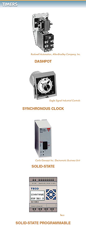 The four major categories of timers are dashpot, synchronous clock, solid-state, and solid-state programmable