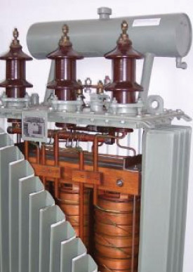 Cutaway View of a Three-Phase Transformer