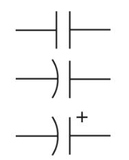 Schematic symbols for the capacitor.