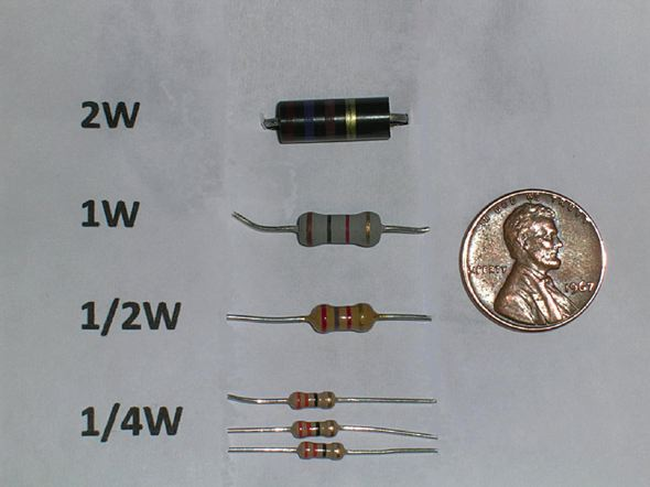 Examples of resistors used in electric and electronic devices.