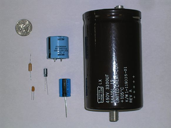 Capacitors with various sizes and shapes.