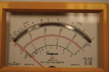 Various graduations on a typical analog multimeter.