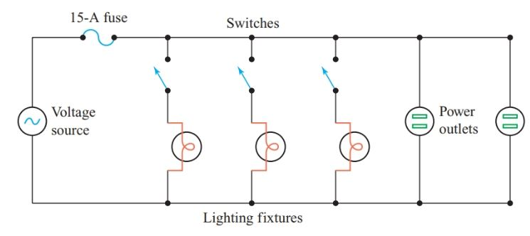 Parallel connection of loads in house wiring