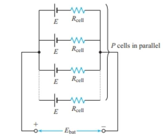 Equivalent circuit of a parallel connected battery