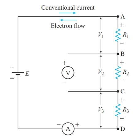 Polarity of voltage drops in a series circuit