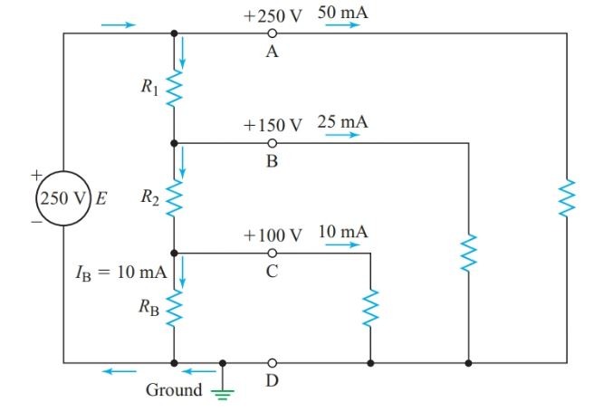 Voltage divider with multiple output voltages