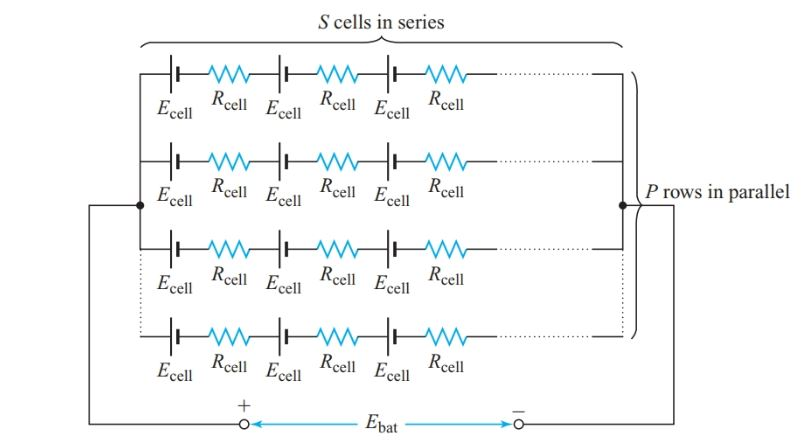 Equivalent circuit of a series-parallel connected battery