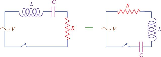 Two equivalent SERIES RLC circuits.