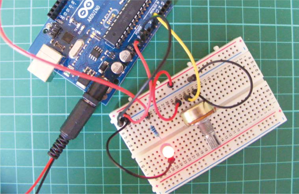 Connecting the potentiometer to the Arduino