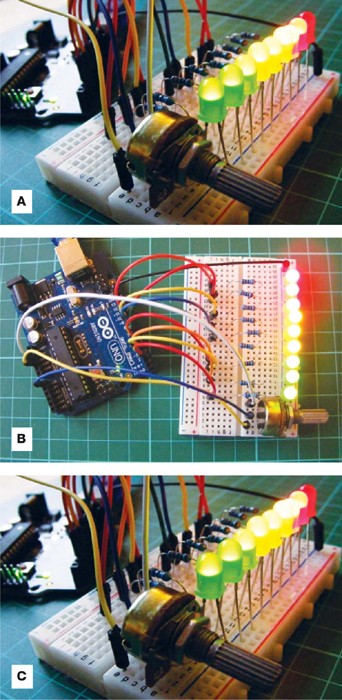 The LEDs light up and turn off in sequence as you turn the potentiometer.