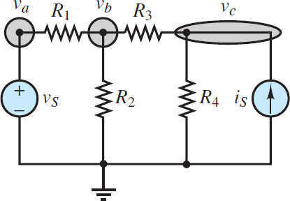 Node analysis with voltage sources