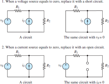 Zeroing voltage and current sources