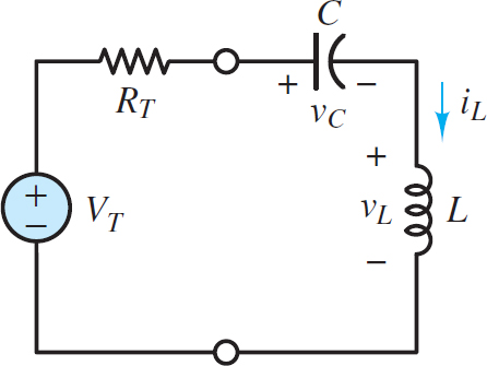 Second-order circuit with the inductor and capacitor in series acting as a unified load attached to a Thevenin equivalent network