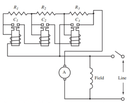 Circuit for an automatic motor starter.