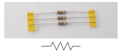 Group of carbon composition resistors and the fixed resistor symbol.