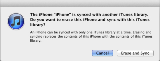 Click the Erase and Sync button. iTunes replaces the existing library items on your iPhone with the items you chose from the new library.