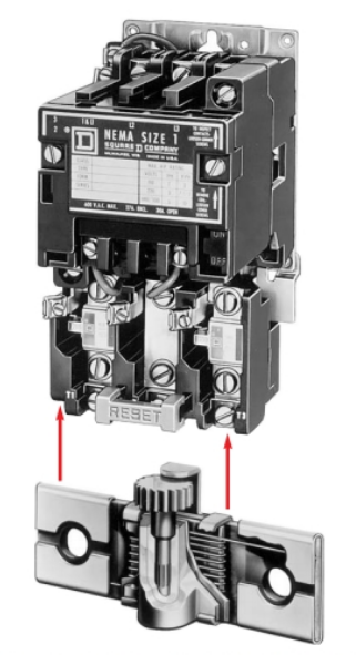 The thermo-overload mounts to the bottom of a motor starter and provides protection for motor overloads