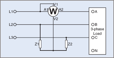 One wattmeter 3-wire method