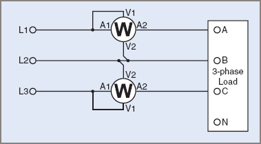 Two wattmeter 3-wire method