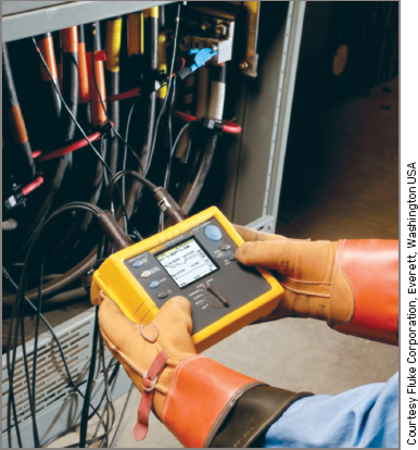 Fluke power analyzer in use