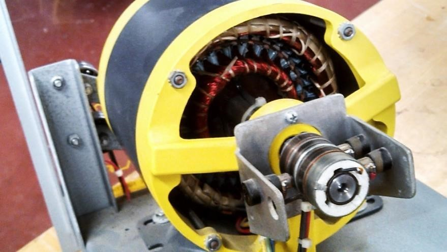 Figure 3. Wound-rotor AC induction motors are easily recognized by the three slip rings on the rotor shaft