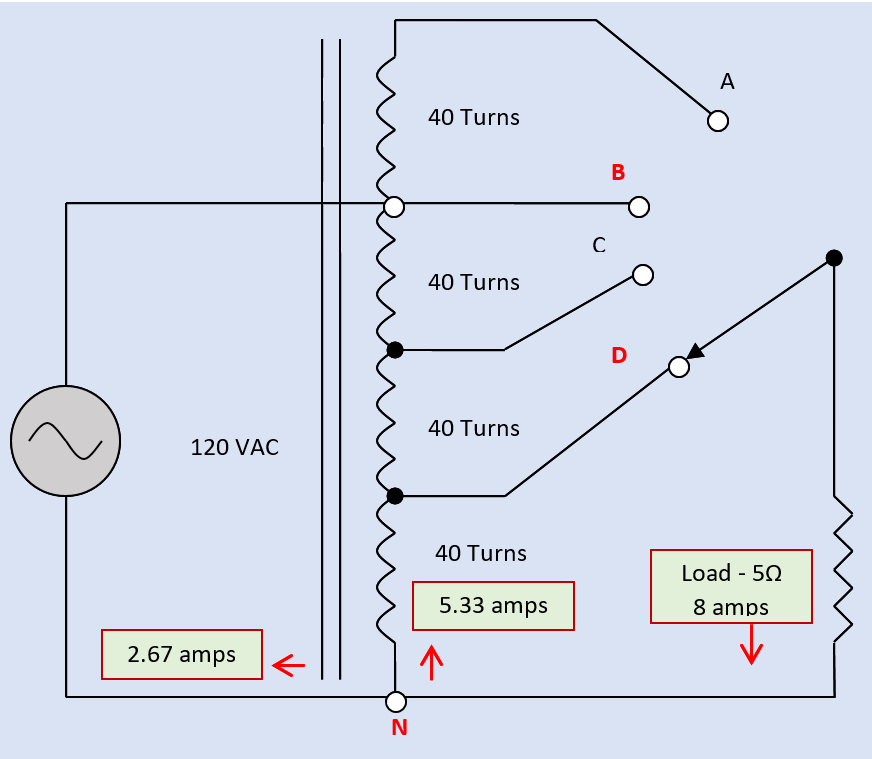 Diagram of a single-winding tapped autotransformer