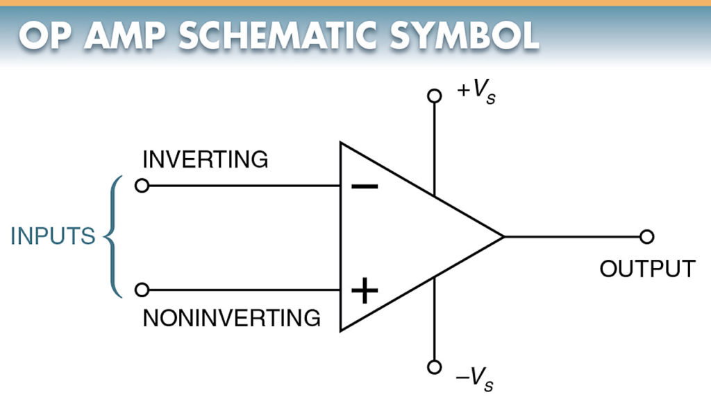 schematic symbol for an op-amp