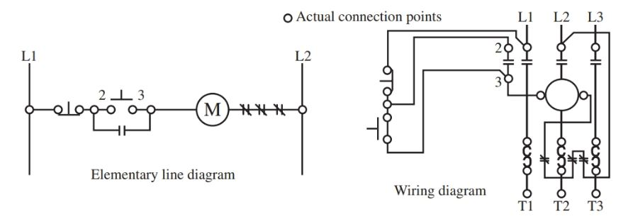 Both the elementary line diagram and the wiring diagram shown here are of the same electrical system