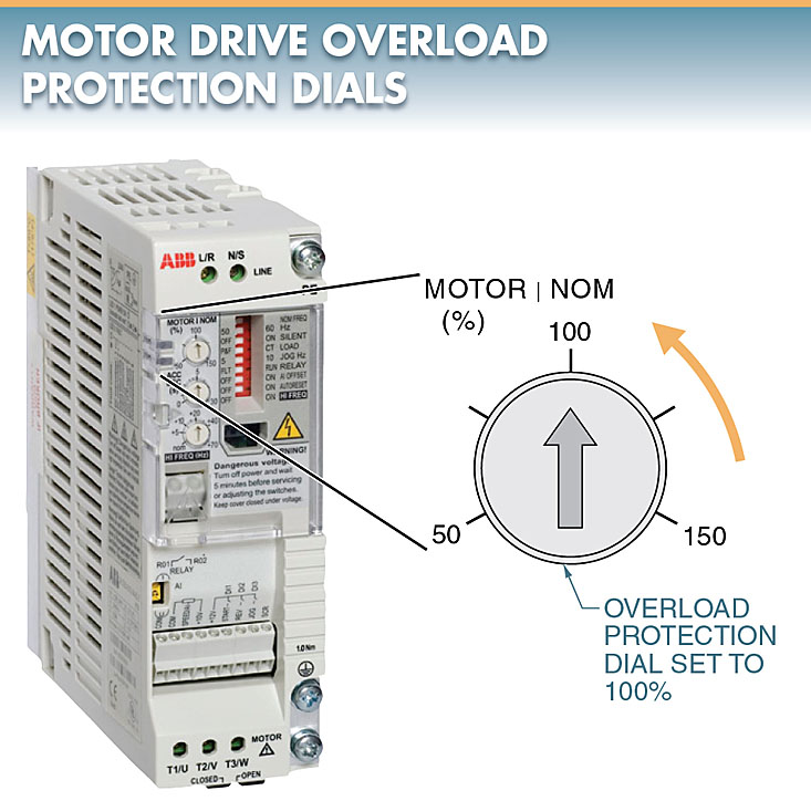 motor drive overload protection dial
