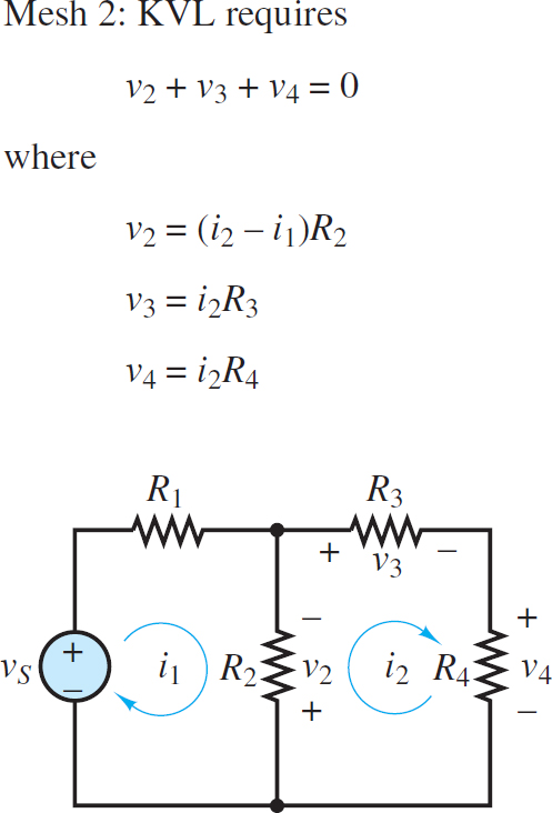 Assignment of mesh currents and voltages around mesh 2