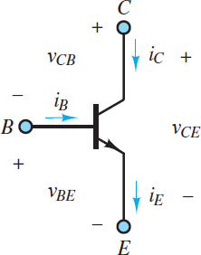 Definition of Bipolar Junction Transistor (BJT) voltages and currents