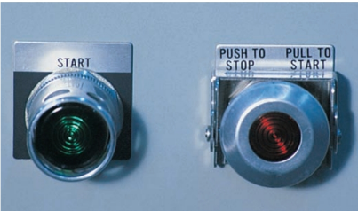 This type of push-button starter pulls to start and pushes to stop. There is no separate button.