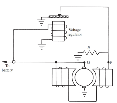 Circuit Diagram for a generator voltage regulator.