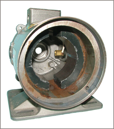 View of the alnico magnets of a permanent-magnet DC motor