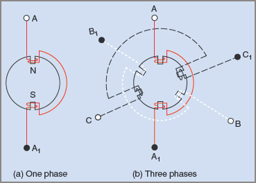 Polarities and connections in a two-pole, three-phase induction motor