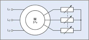 Basic power circuit for secondary resistance induction motor starting