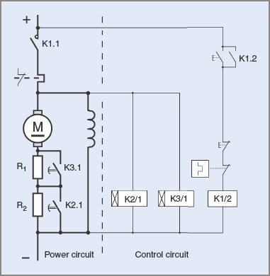 Example of an automatic DC motor starter circuit diagram
